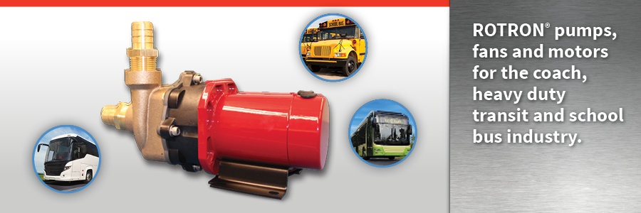 ROTRON pumps fans and motors for the coach, heavy duty transit and school bus industry hero image